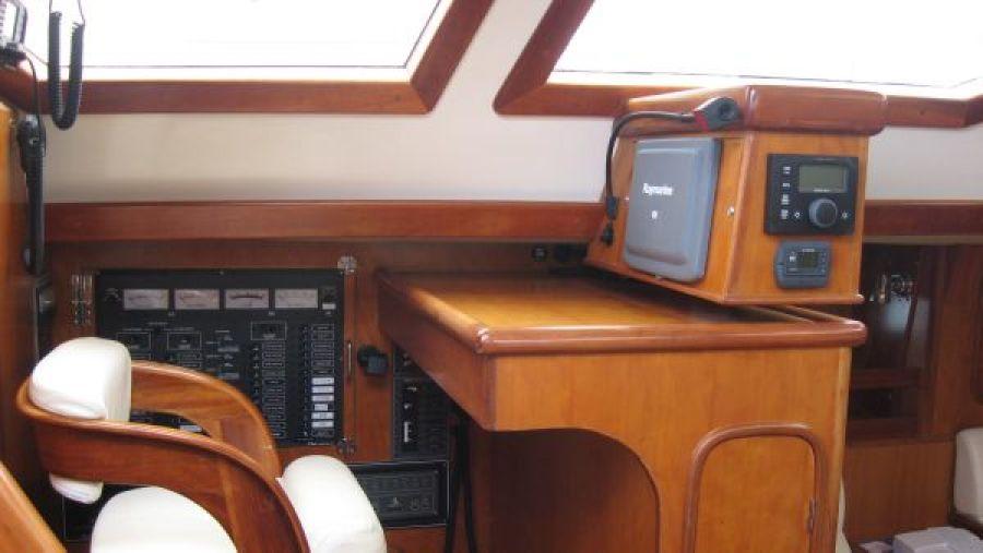 Inside helm - nav station - autopilot controls