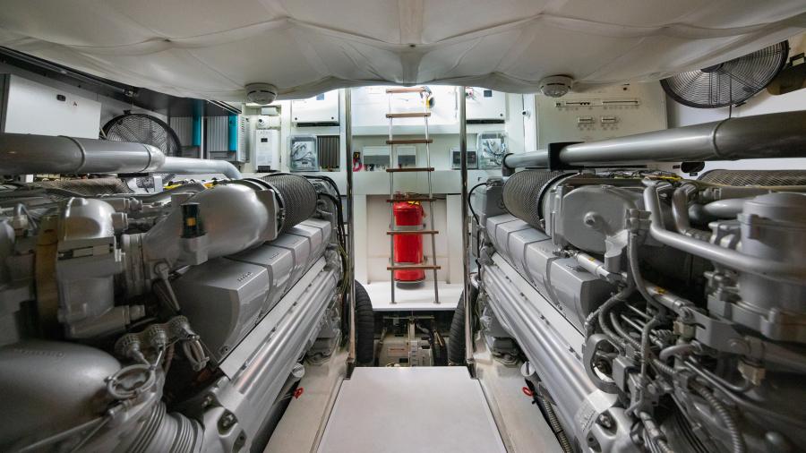 64 Pershing Engine Room