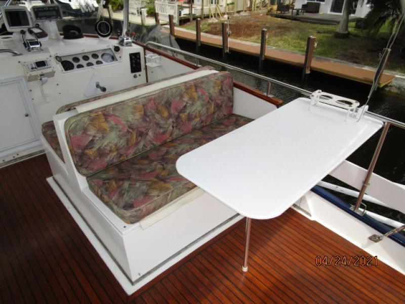 42' Grand Banks flybridge starboard table