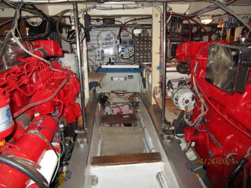 42' Grand Banks engine room forward