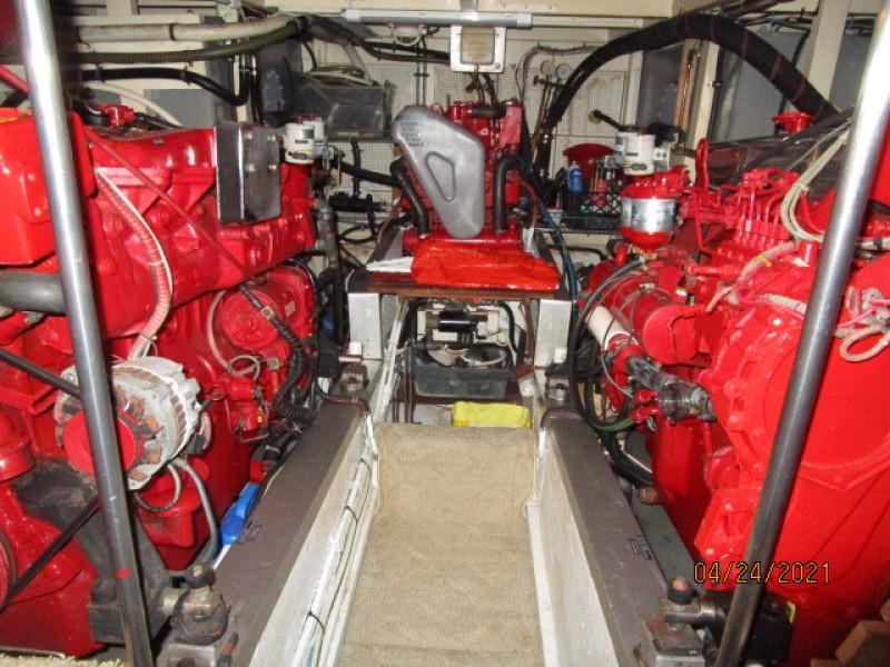 42' Grand Banks engine room aft