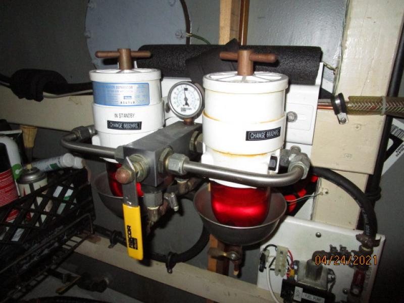 42' Grand Banks port Racor fuel filters
