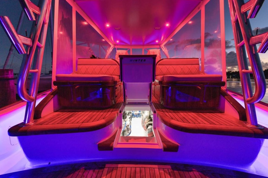 Helm Deck with Night Lighting and Engine Room Access