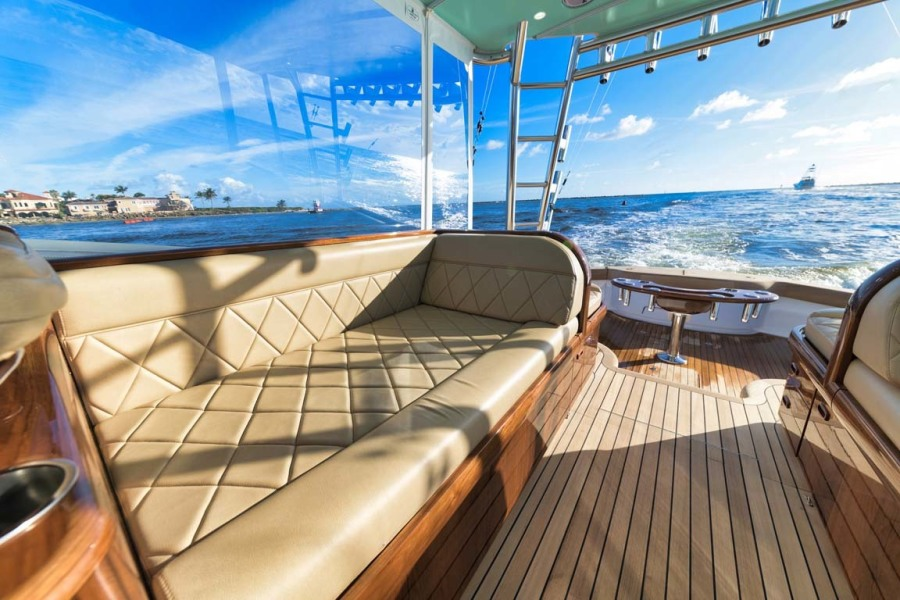 Teak Starboard Seating with Diamond Stitched Ultra-Leather Upholstery and Storage Below