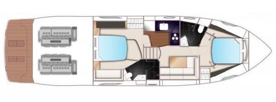 2014 Princess V48 2014 - Cabin Layout