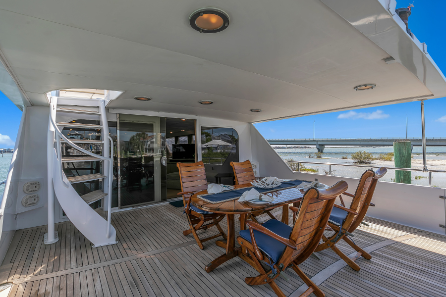 Broward 104 - Pathway - Aft Deck Lounge