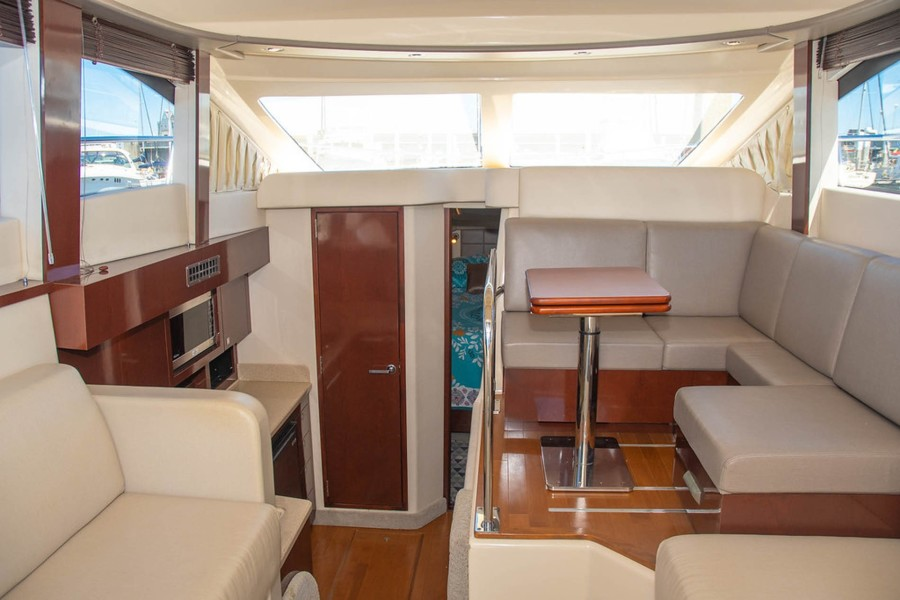 Galley to Port down and Dinette to Starboard