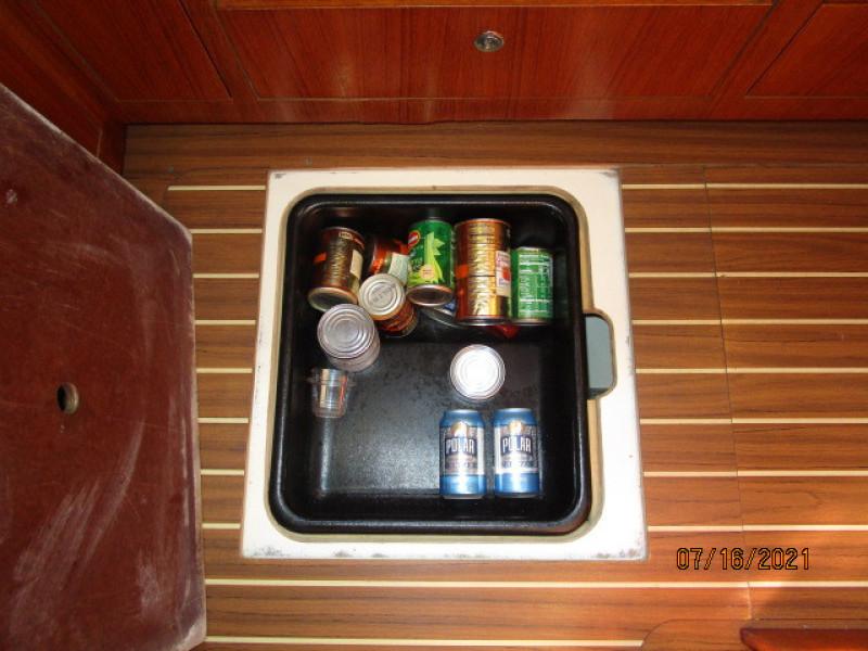 38' Marlow-Hunter galley under-deck storage