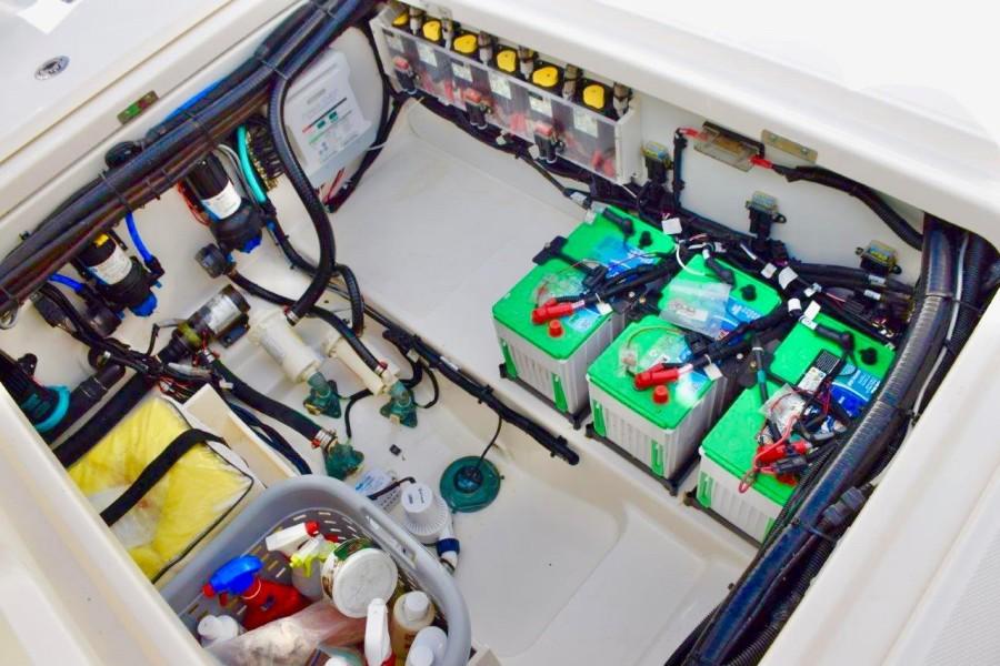 Batteries and equipment under cockpit deck