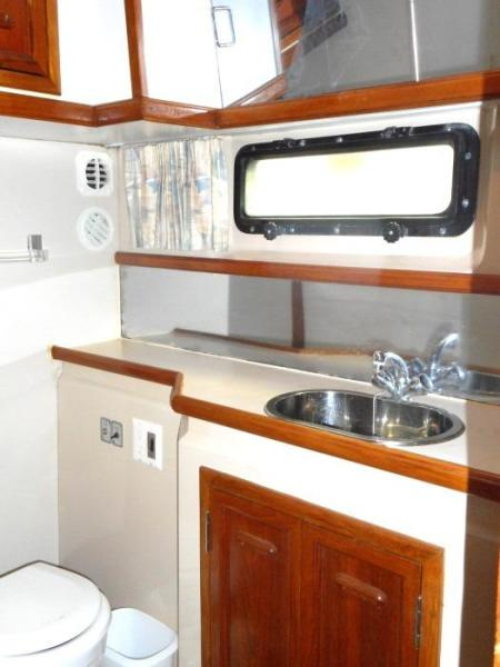 1988 Carver 4207 Aft Cabin Motor Yacht owner's head and vanity