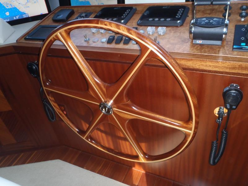 Helm Station Teak Wheel