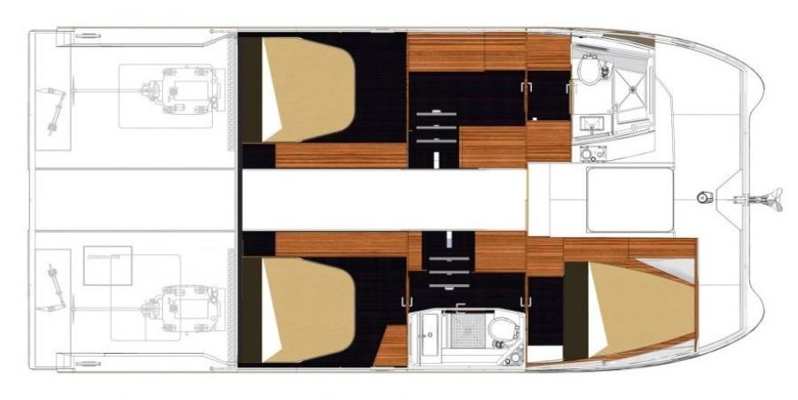 Manufacturer Provided Image: Fountaine Pajot MY 37 Lower Deck Layout Plan