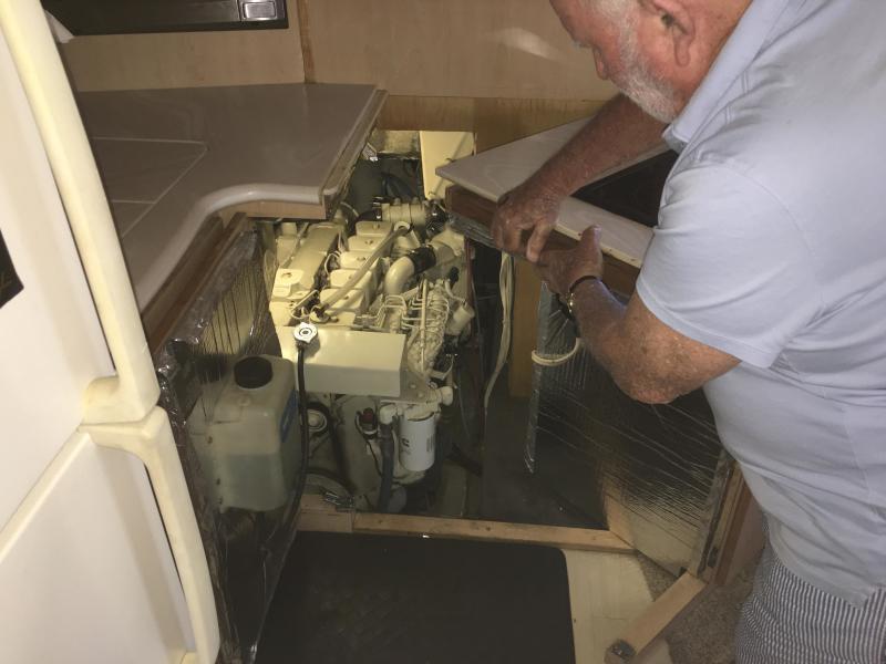 Starboard engine access under galley