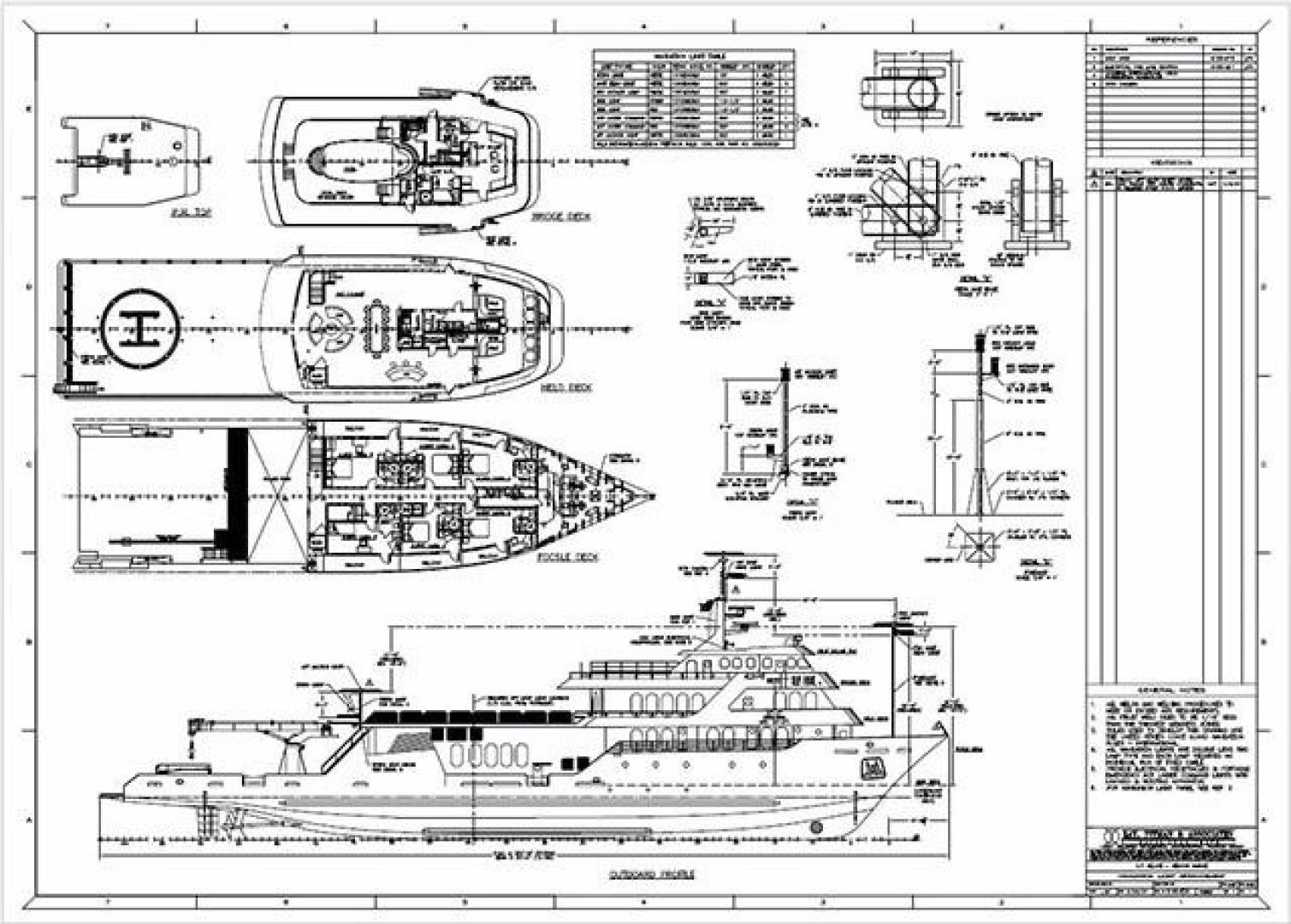Shadow-Marine Expedition Mothership  Allure Class 2007-Global Ft. Lauderdale-Florida-United States-Complete Line Drawings by Lay, Pittman & Associates-919146 | Thumbnail