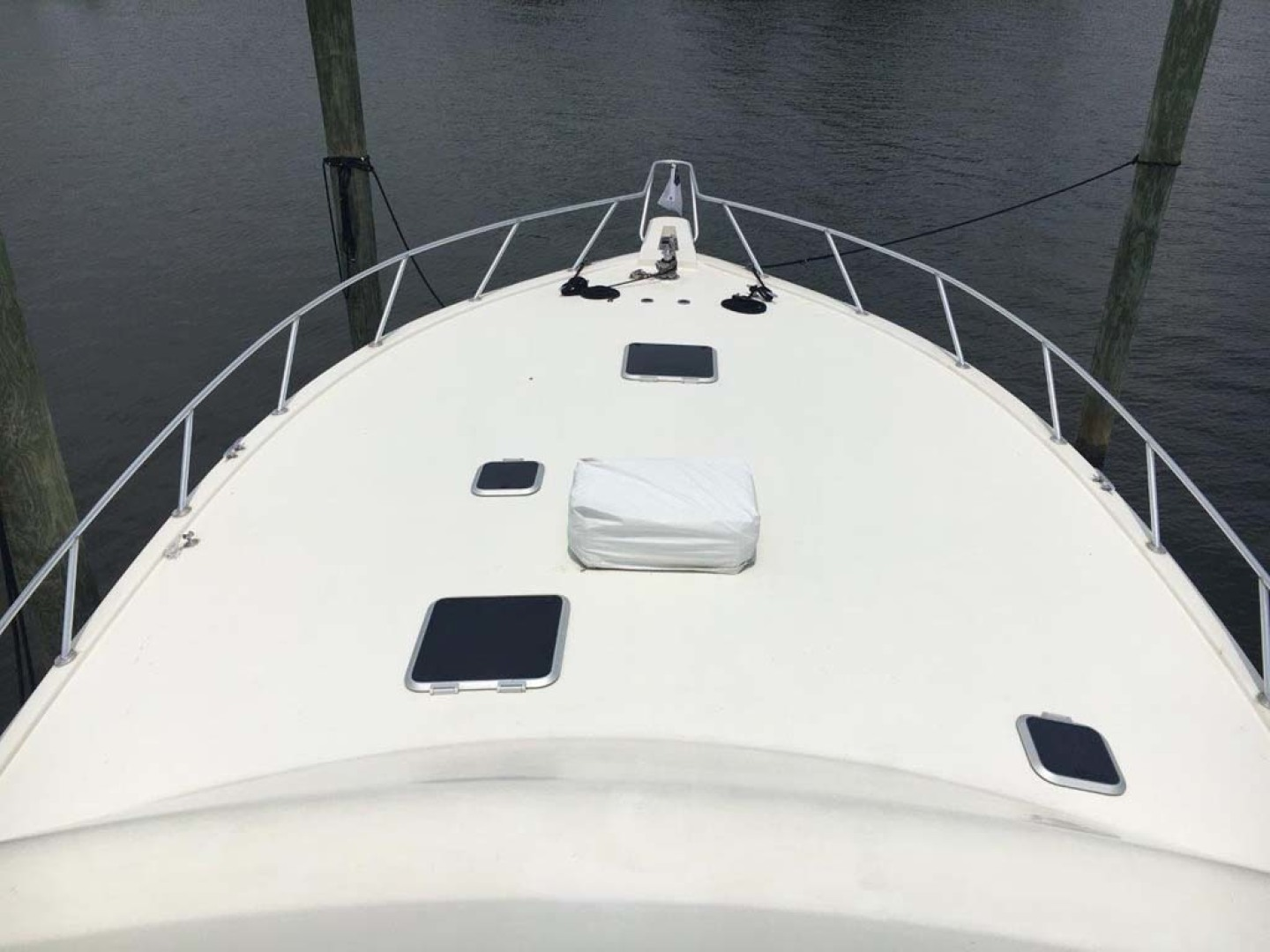 Custom-Richards 48 Convertible 1998-PIPE DREAM Pensacola-Florida-United States-Foredeck, Bow From Bridge-1480834 | Thumbnail