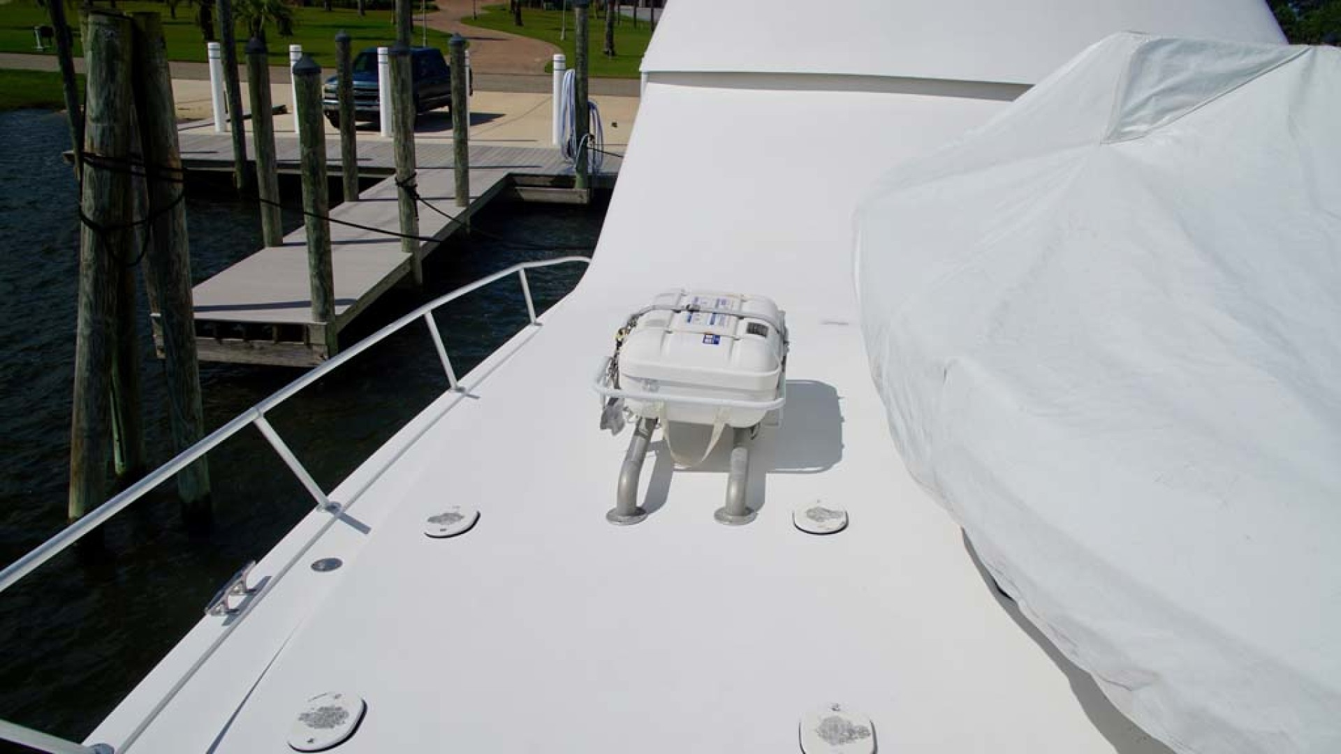 Viking-65 Enclosed Bridge Convertible 2001-TalkN Trash Orange Beach-Alabama-United States-Foredeck-1075801 | Thumbnail