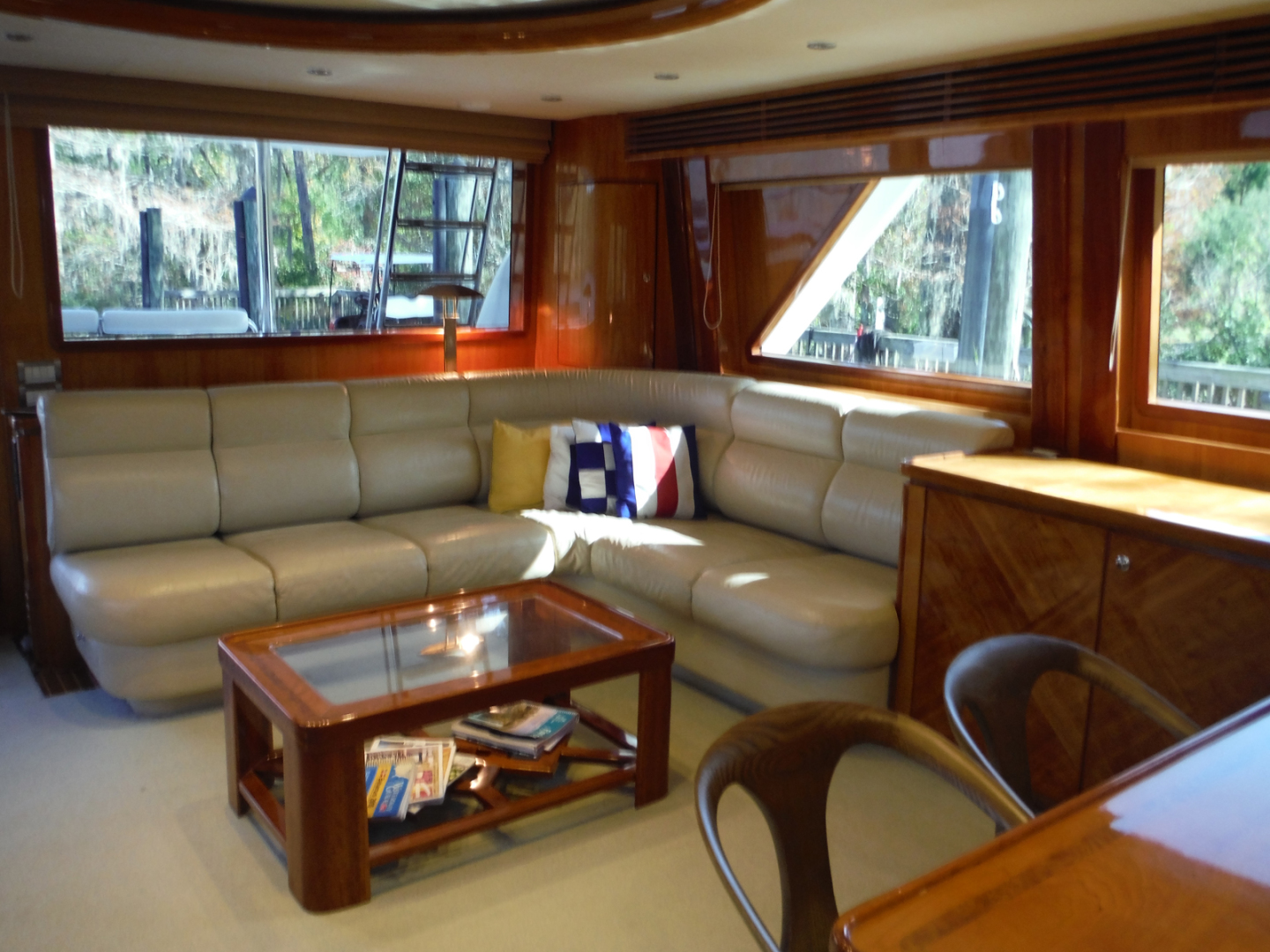 Hargrave-Flybridge Motor Yacht 2001-GRACE Fort Lauderdale-Florida-United States-Salon Looking Aft to Starboard-1091920 | Thumbnail