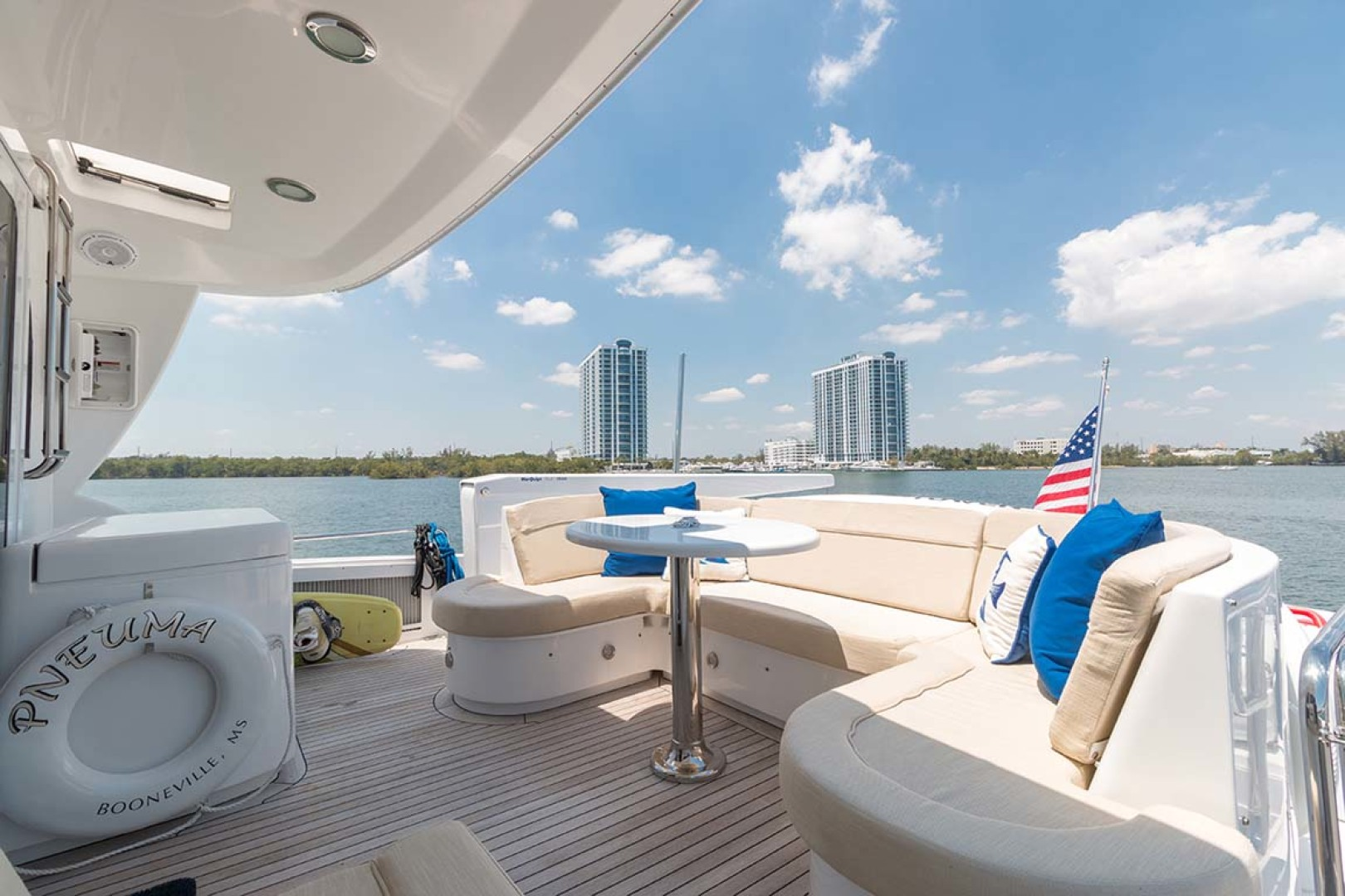 Hatteras-80 Motor Yacht 2007-Pneuma Ocean Reef-Florida-United States-Boat Deck U-Shaped Lounge with Table-1092665 | Thumbnail
