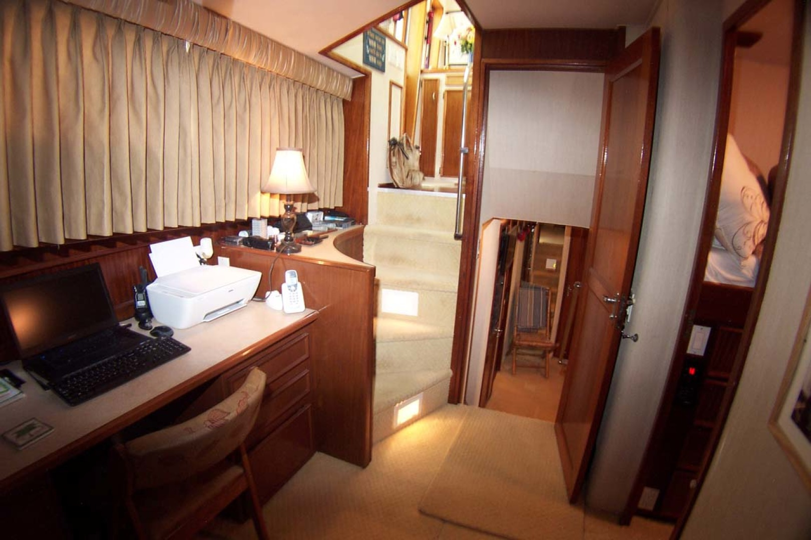 Hatteras-61 Motoryacht 1980-Piece A Cake Ft. Pierce-Florida-United States-Office/Entrance to VIP Stateroom-1094516 | Thumbnail