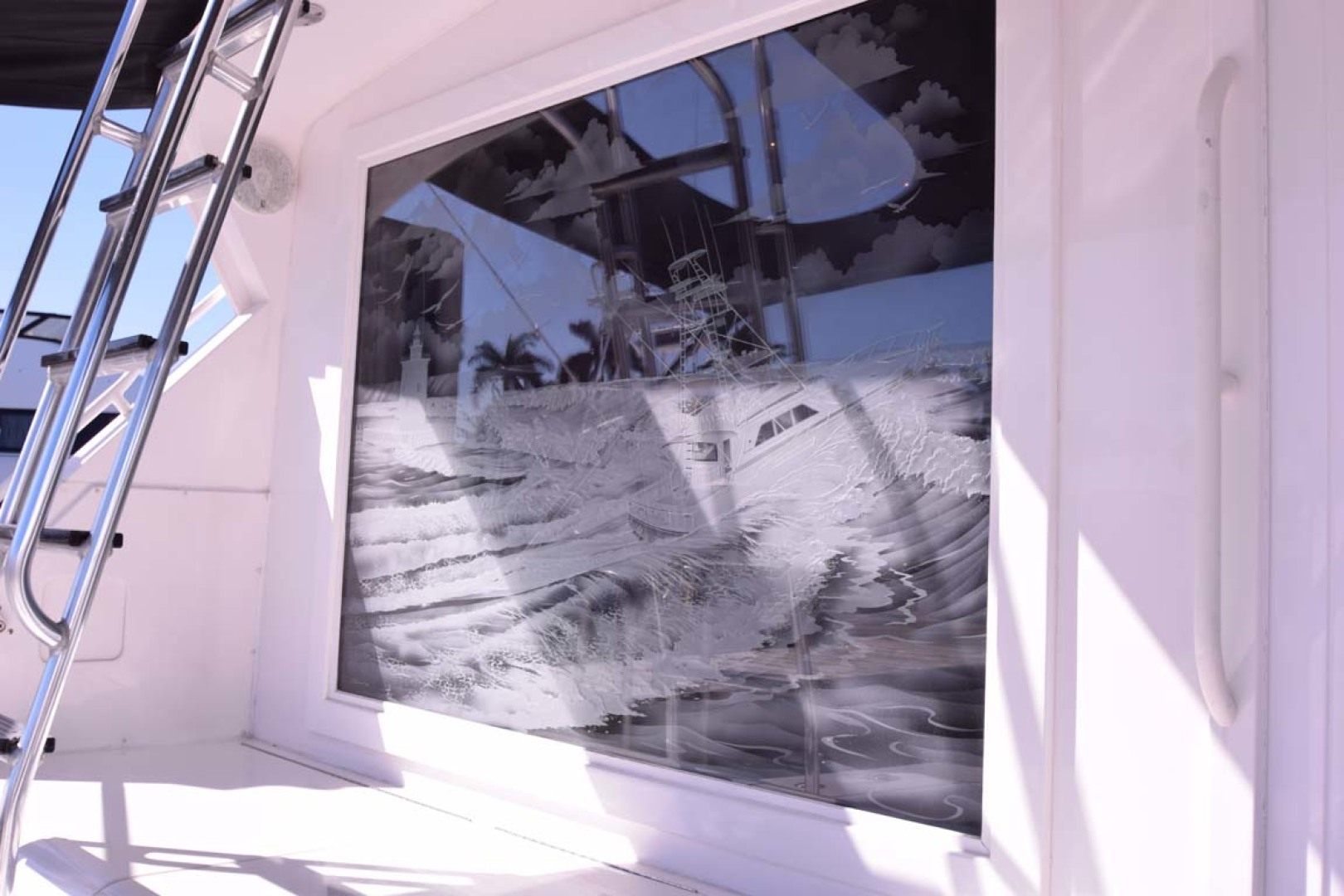 Bertram-60 Convertible 1998-CHARDAN Lighthouse Point-Florida-United States-Etched Window Detail from Cockpit-1122688 | Thumbnail