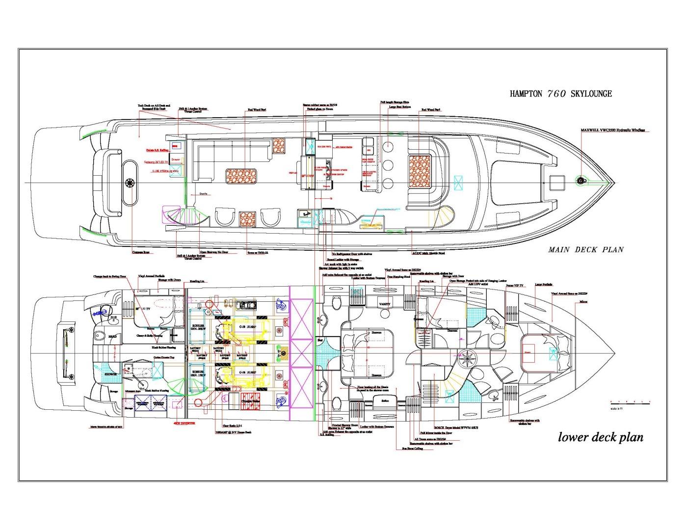 Hampton-76 Skylounge Motoryacht 2014-ODYSEA San Diego-California-United States-LAYOUT-1165966 | Thumbnail