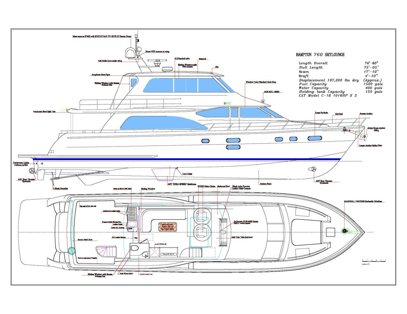Hampton-76 Skylounge Motoryacht 2014-ODYSEA San Diego-California-United States-LAYOUT-1165965 | Thumbnail