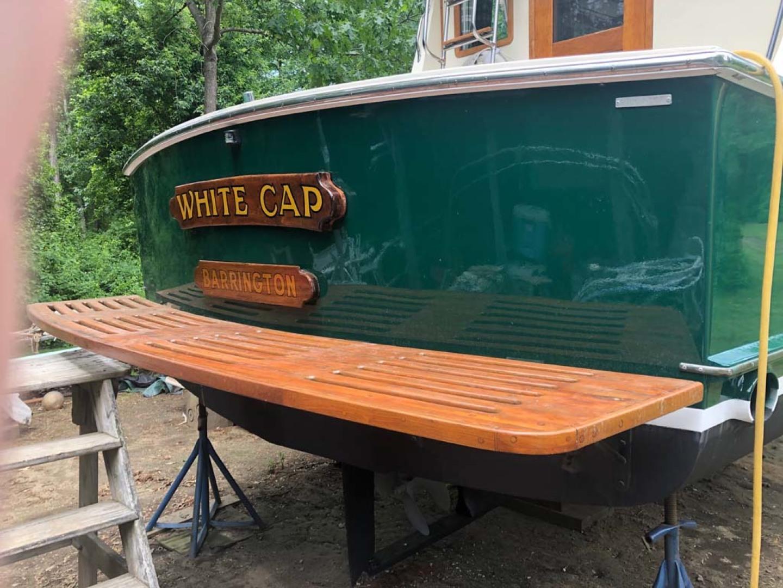 Blue Seas-31 Sedan 1983-White Cap Barrington-Rhode Island-United States-Swim Platform, Transom-1175744   Thumbnail