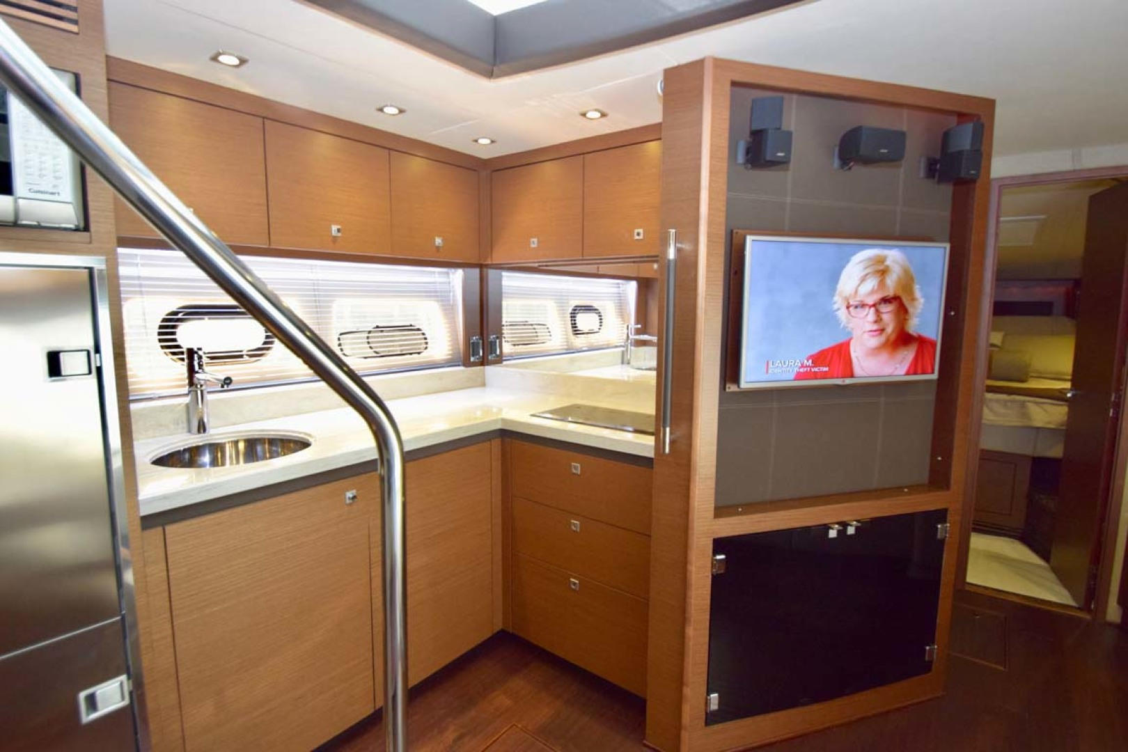 Sea Ray-510 Sundancer 2015 -Ft Lauderdale-Florida-United States-Galley Featuring Large Flat Screen TV To Lower Salon Seating-1189934 | Thumbnail