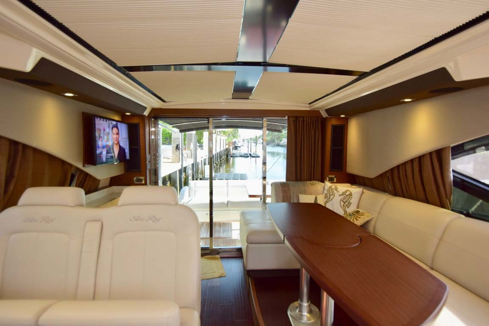 Sea Ray-510 Sundancer 2015 -Ft Lauderdale-Florida-United States-Salon View To Aft Deck With Sun Shades Closed-1189923 | Thumbnail