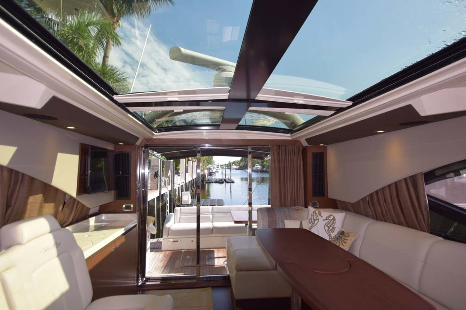 Sea Ray-510 Sundancer 2015 -Ft Lauderdale-Florida-United States-Salon View To Aft Deck With Sun Shades Open-1189922 | Thumbnail