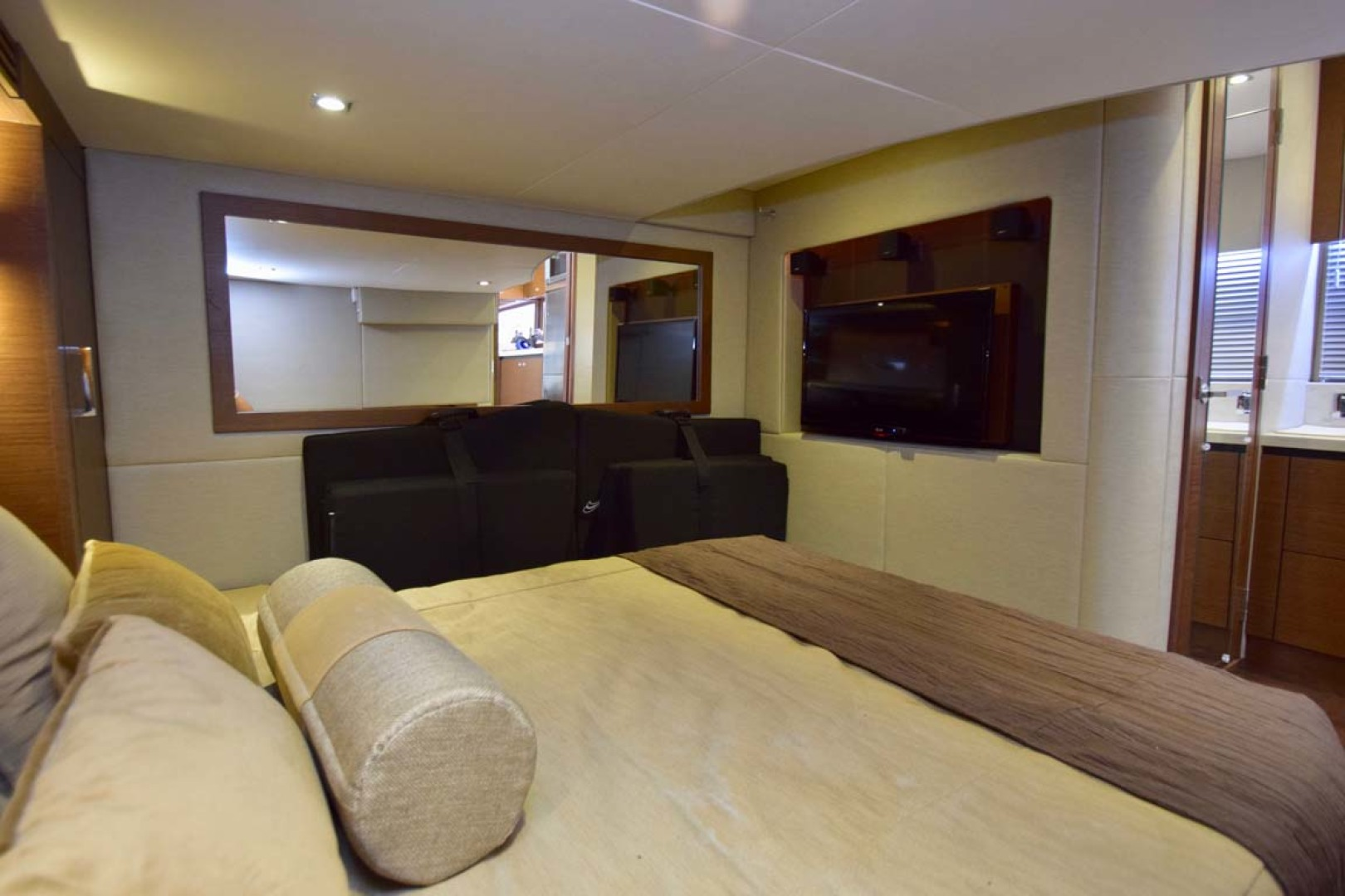 Sea Ray-510 Sundancer 2015 -Ft Lauderdale-Florida-United States-Main Stateroom View To Port With Large Flat Screen TV-1189943 | Thumbnail
