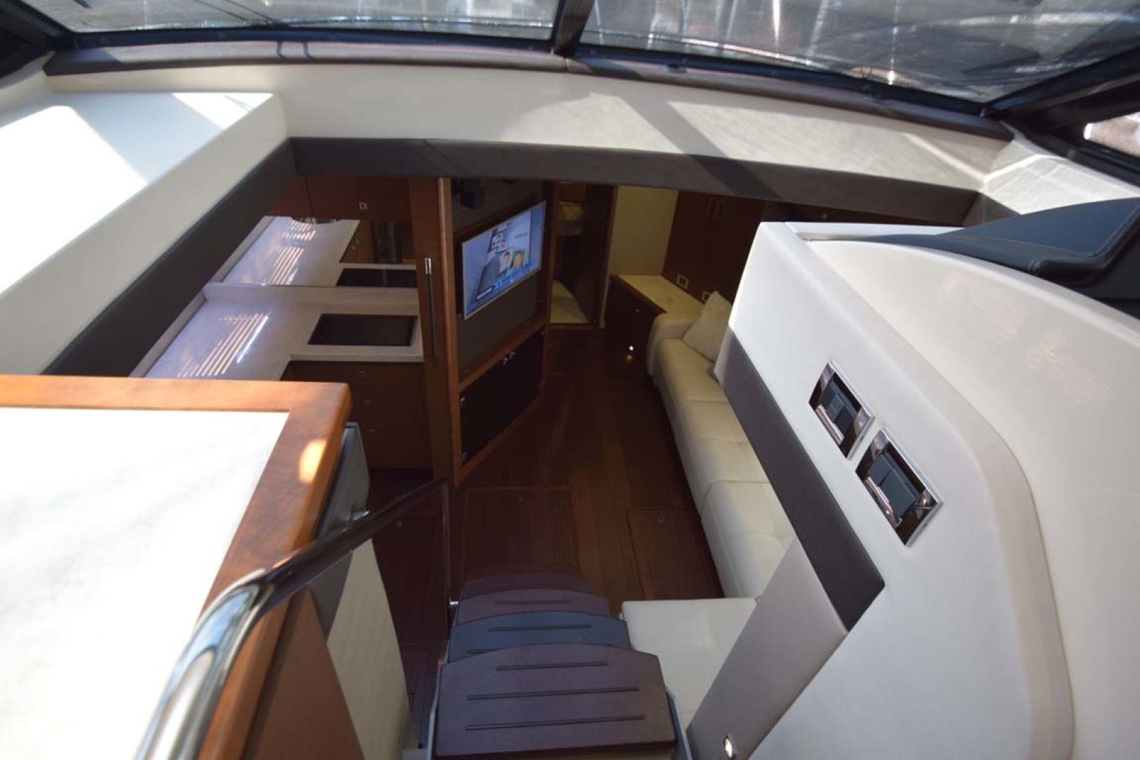 Sea Ray-510 Sundancer 2015 -Ft Lauderdale-Florida-United States-View To Below Deck From Stairs In Salon-1189927 | Thumbnail