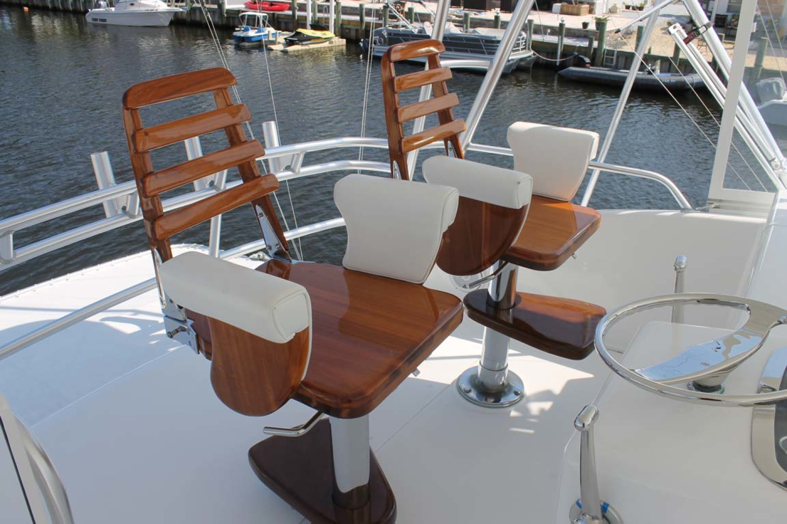 Viking-52 Convertible 2002-Wound Up Cape May-New Jersey-United States-Teak Helm Chairs-1230038 | Thumbnail