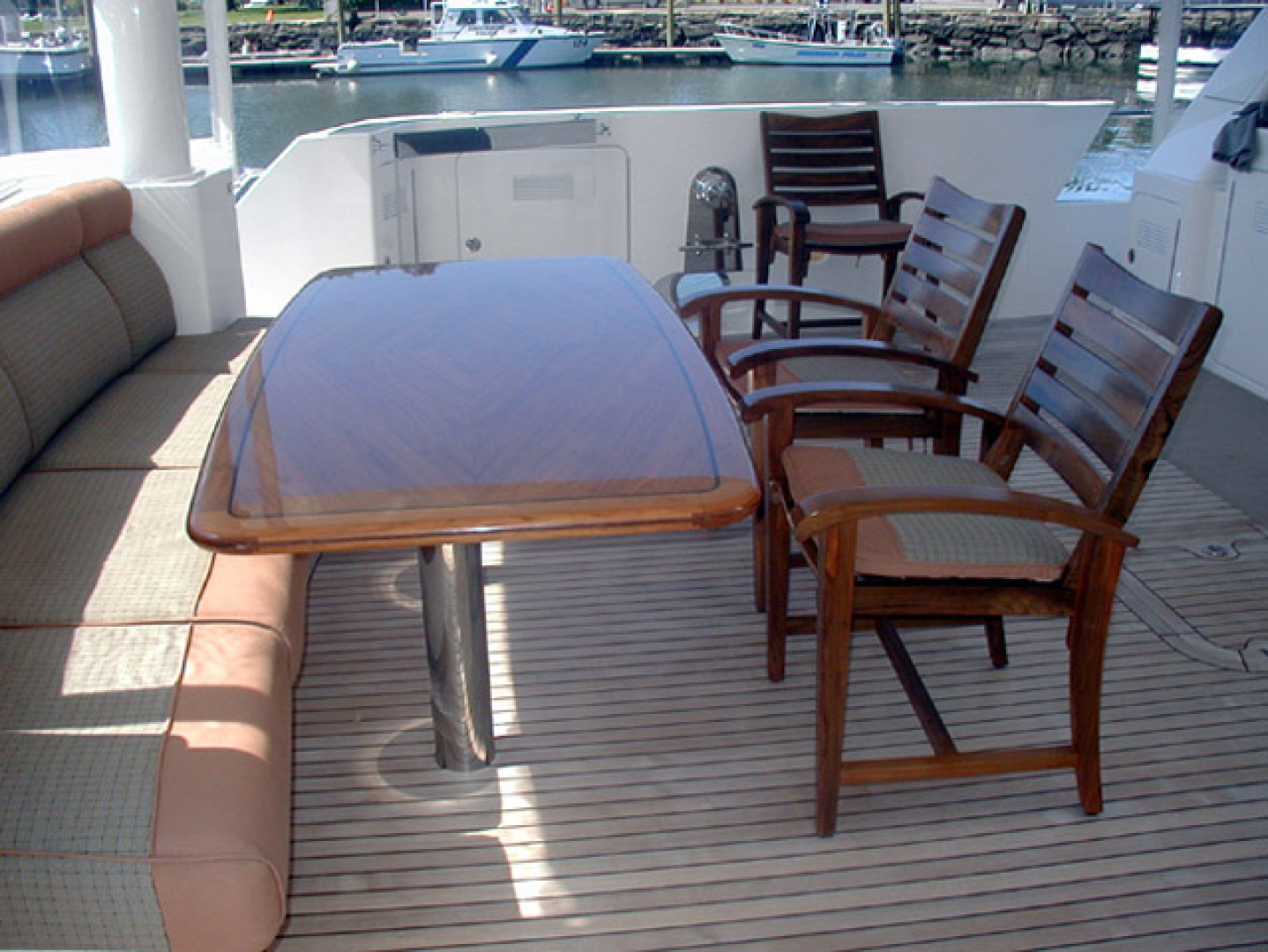 West Bay-Custom Enclosed Bridge 2005-Dream Weaver North Palm Beach-Florida-United States-Aft Deck Dining-1276219 | Thumbnail