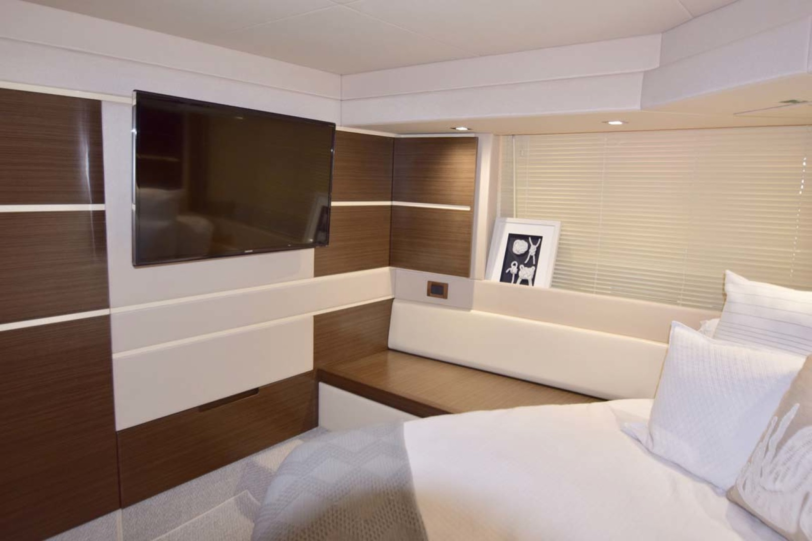 Azimut-54 Flybridge 2014-Suits Fort Lauderdale-Florida-United States-Main Stateroom TV And View To Starboard-1292172 | Thumbnail
