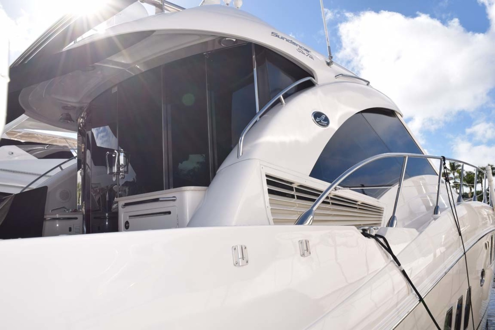 Sea Ray-Sundancer 610 2012-SON RYS Fort Myers-Florida-United States-View From Dock Of Aft Deck And Sliding Doors Into Upper Salon STBD Side-1298483 | Thumbnail