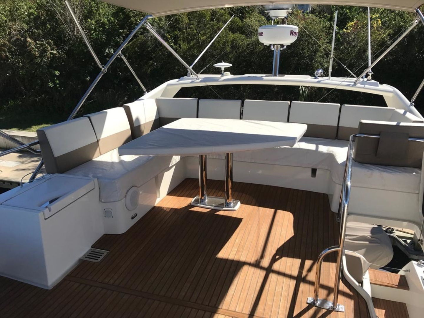 Prestige-550 2015-Higher Powered II Palm Coast-Florida-United States-Flybridge Table Covered-1300827 | Thumbnail