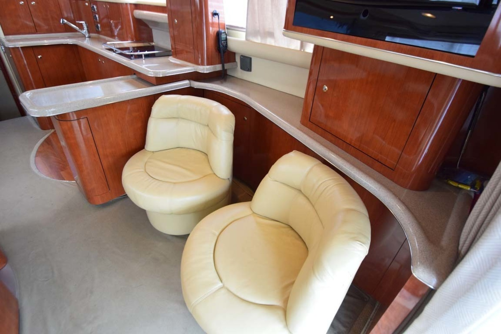 Sea Ray-480 Sedan Bridge 2003-Moondance Stuart-Florida-United States-Salon Leather Chairs Stbd Aft-1308121 | Thumbnail