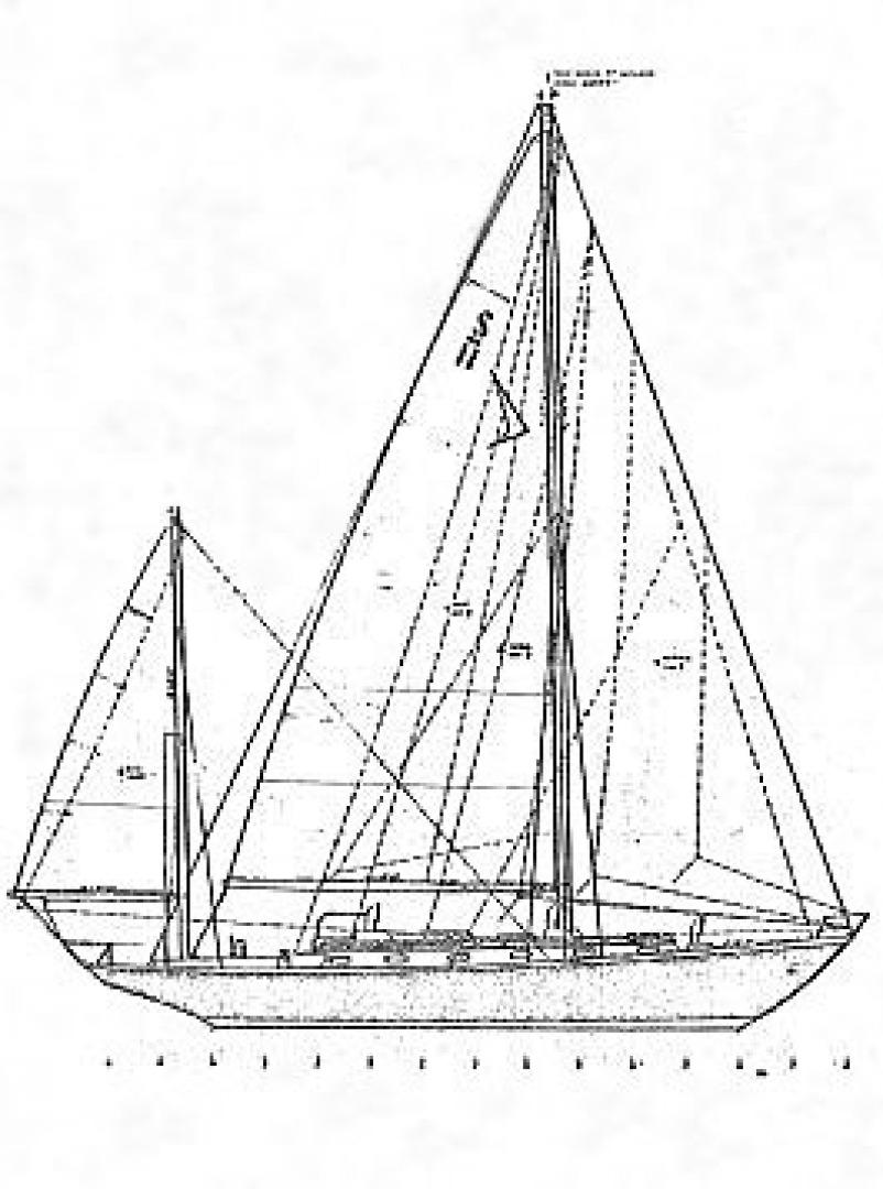 Sparkman & Stephens-Sailmaster Yawl 45 1965-MIDNIGHT Dighton-Massachusetts-United States-Midnight Sail Plan-1345470 | Thumbnail