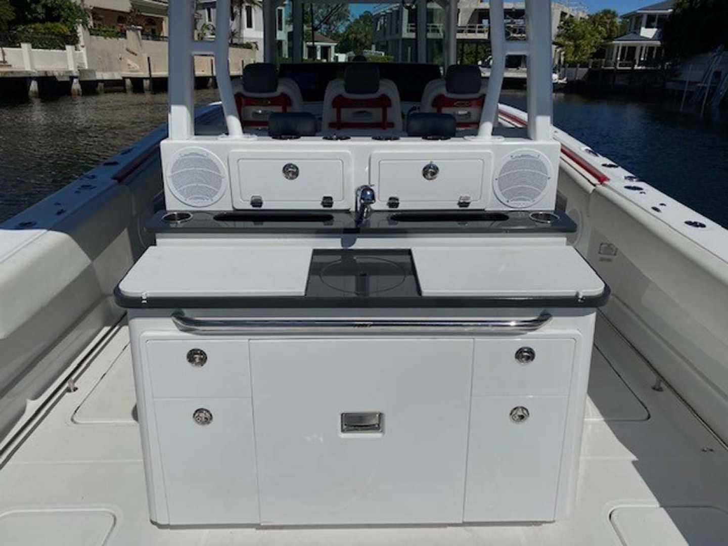 Hydra-Sports-Siesta Edition HCB 2019-Not Fishing II Boca Raton-Florida-United States-Rear Refrigerator With Sink At Console In Cockpit-1348453   Thumbnail