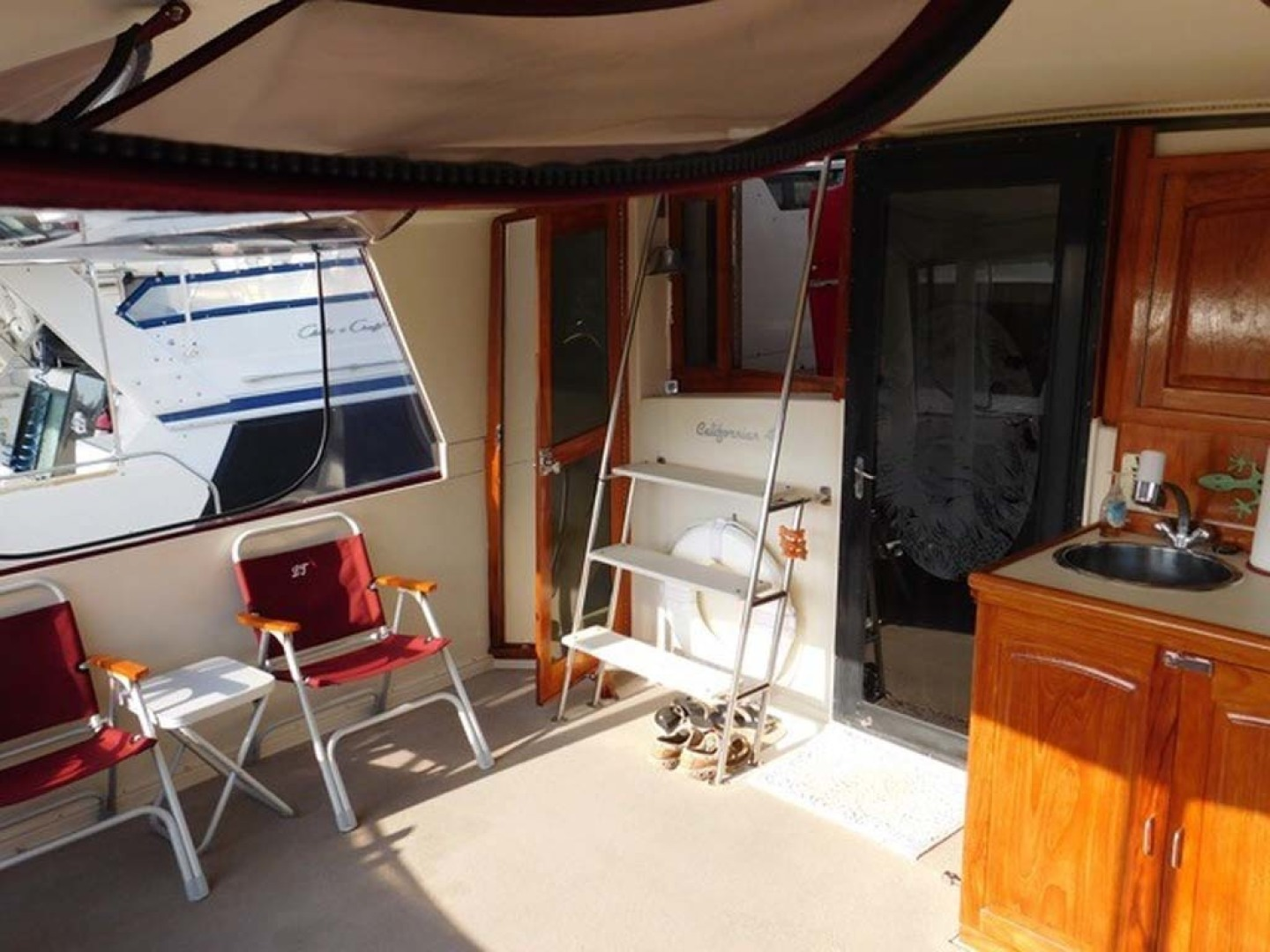 Californian-45 Aft Cabin Motor Yacht 1989-Last Tango Merritt Island-Florida-United States-Aft/Sun Deck Salon Entry And Bridge Access-1367177 | Thumbnail