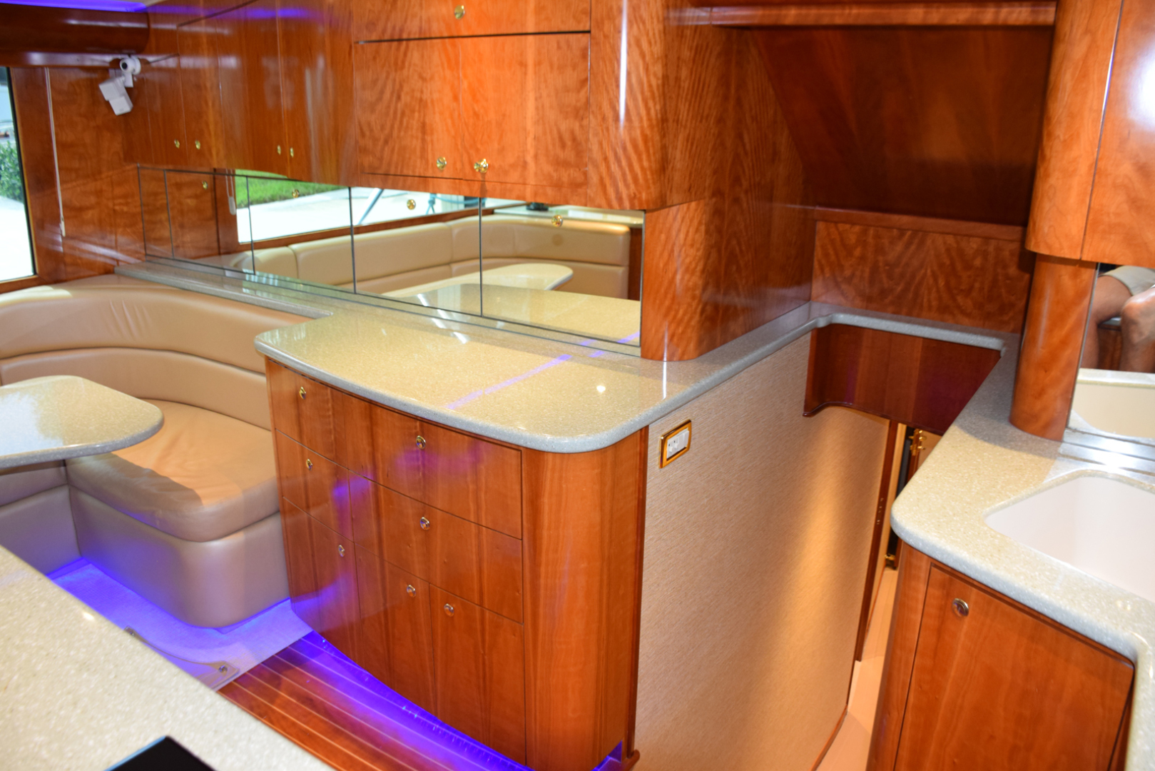 Sculley-Custom 60  Repowered & Gyro stabilized 2004-STEALIN TIME Singer Island-Florida-United States-Galley aft and down to staterooms-1490492 | Thumbnail