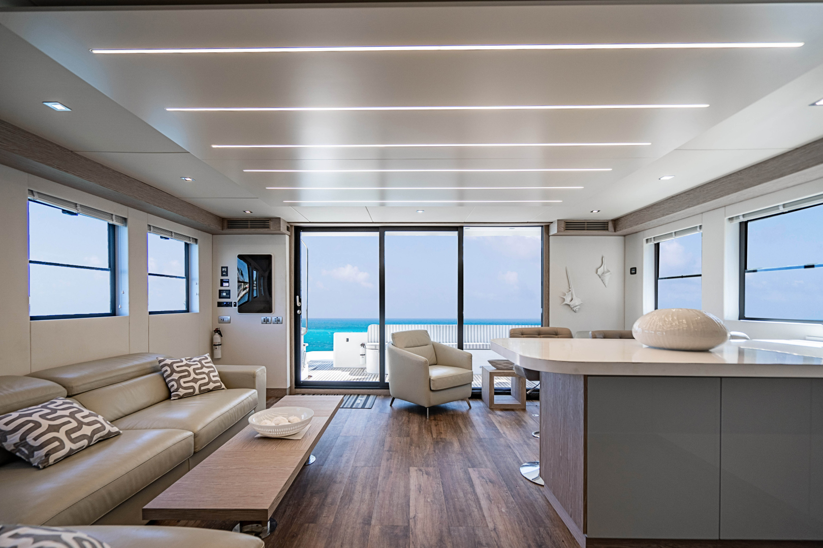 Overblue-58 Power Catamaran 2017-Techuila Ft. Lauderdale-Florida-United States-2017 Overblue 58 Powercat Aft View from Salon-1401129   Thumbnail