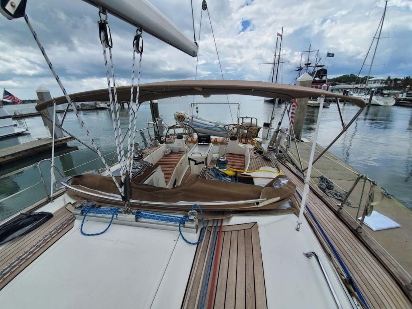 Bavaria-49 2003-BLUE CLOUD LADY Jacksonville-Florida-United States-Looking Aft With Dodger Down-1412453 | Thumbnail