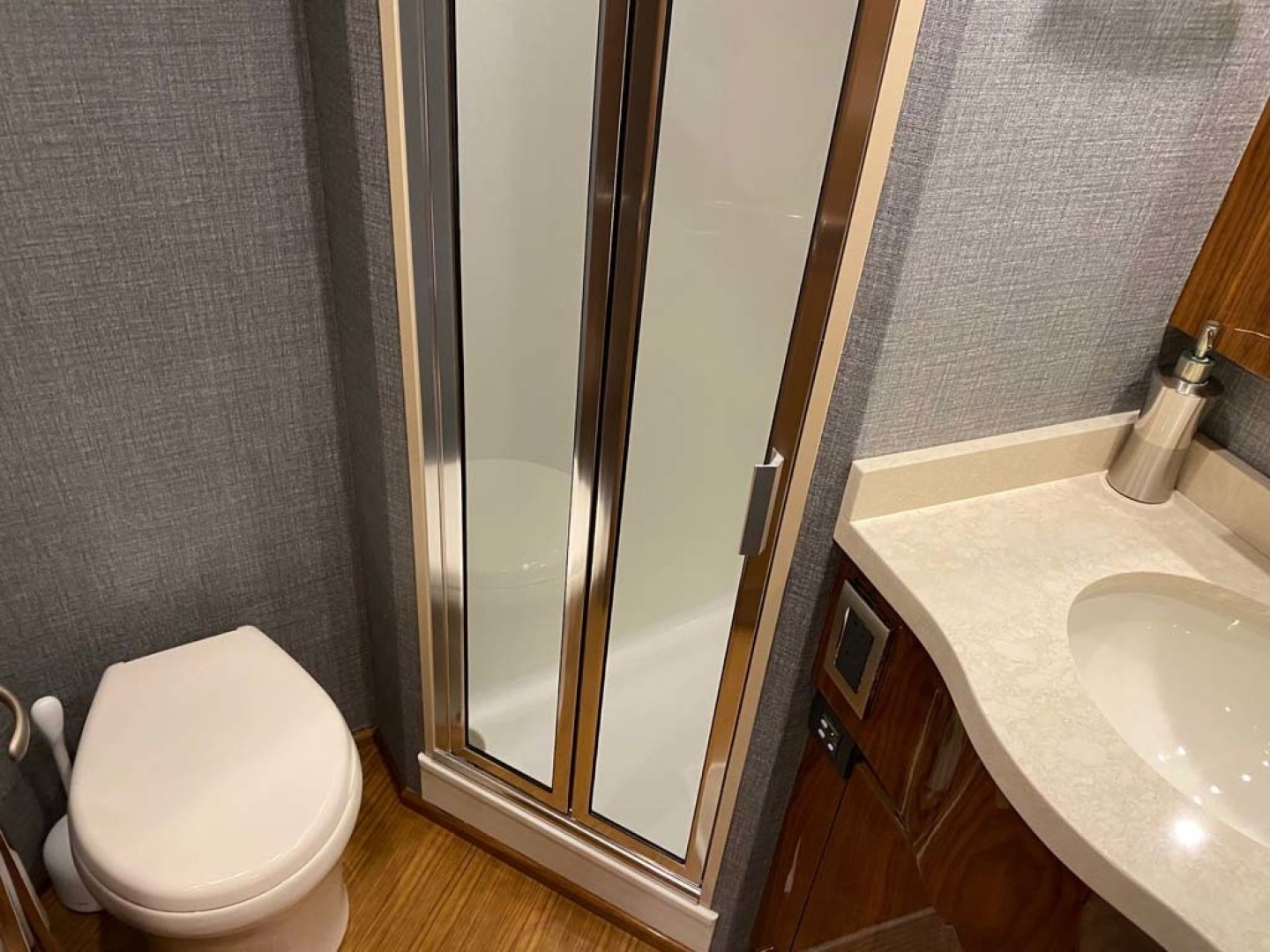 Viking-48 Viking Sport Tower 2018-Pharma Sea Ft Lauderdale-Florida-United States-Fiberglass Stall Shower With Satin Nickel Shower Fixtures And With Drain To Automatic Sump Pump In Bilge-1424062 | Thumbnail