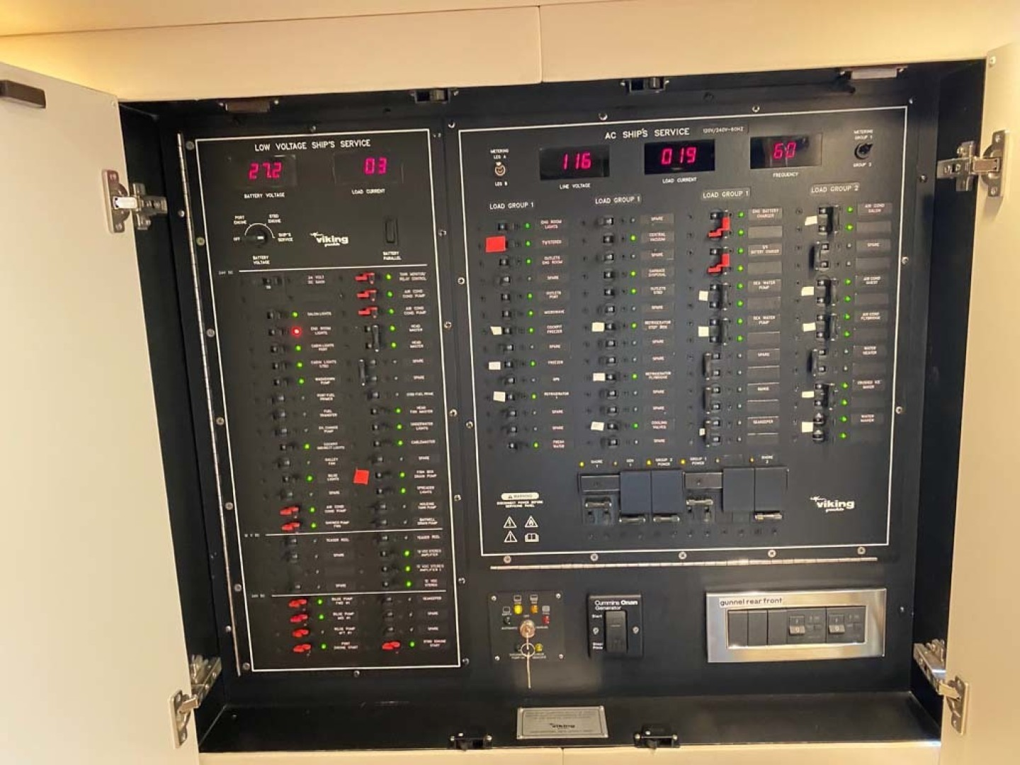 Viking-48 Viking Sport Tower 2018-Pharma Sea Ft Lauderdale-Florida-United States-Main Electrical Service Panel, ACDC, Backlit For Easier Viewing-1424053 | Thumbnail