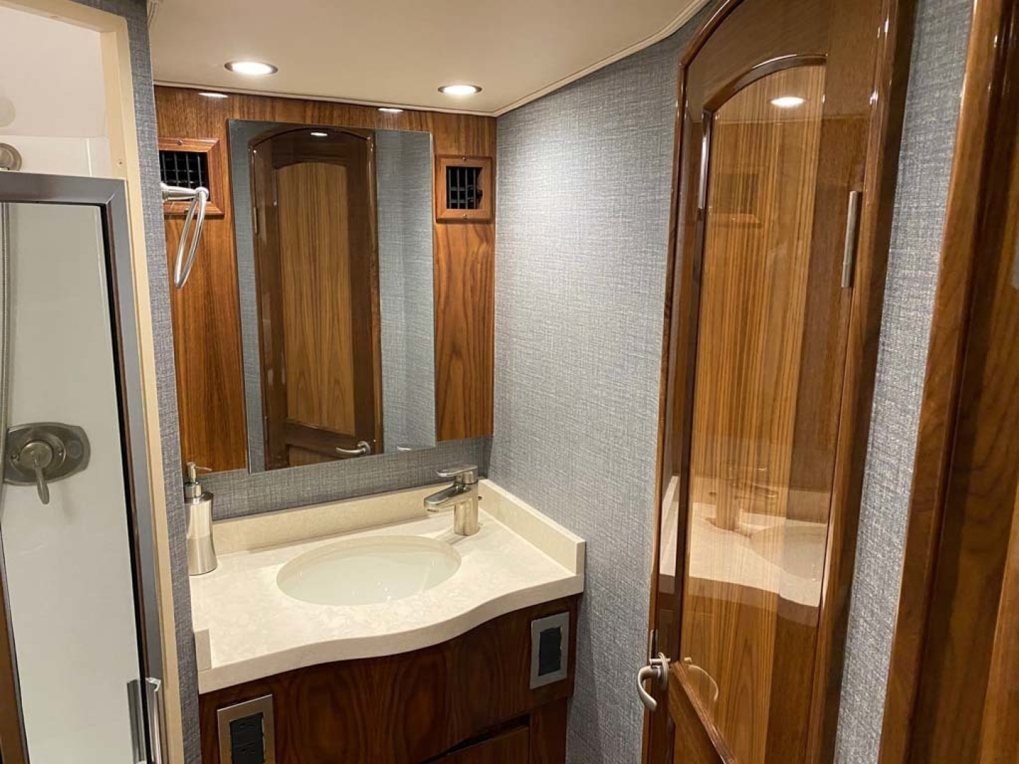 Viking-48 Viking Sport Tower 2018-Pharma Sea Ft Lauderdale-Florida-United States-Upgraded Counter Top In Guest Head, One Piece Molded Bone Corian With Rounded Edges And Sink With Satin Nickel Faucet-1424061 | Thumbnail