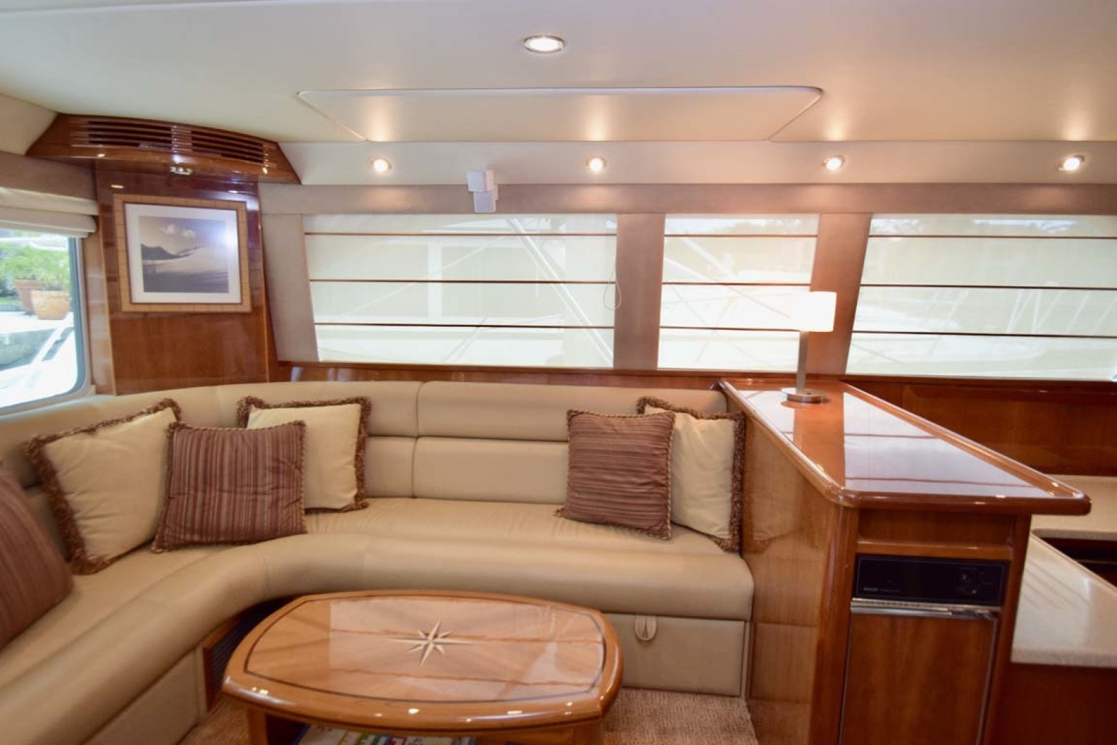 Riviera-Enclosed Flybridge 2007-Magica II Coral Gables-Florida-United States-Salon View To PORT With Galley Counter-1443167 | Thumbnail