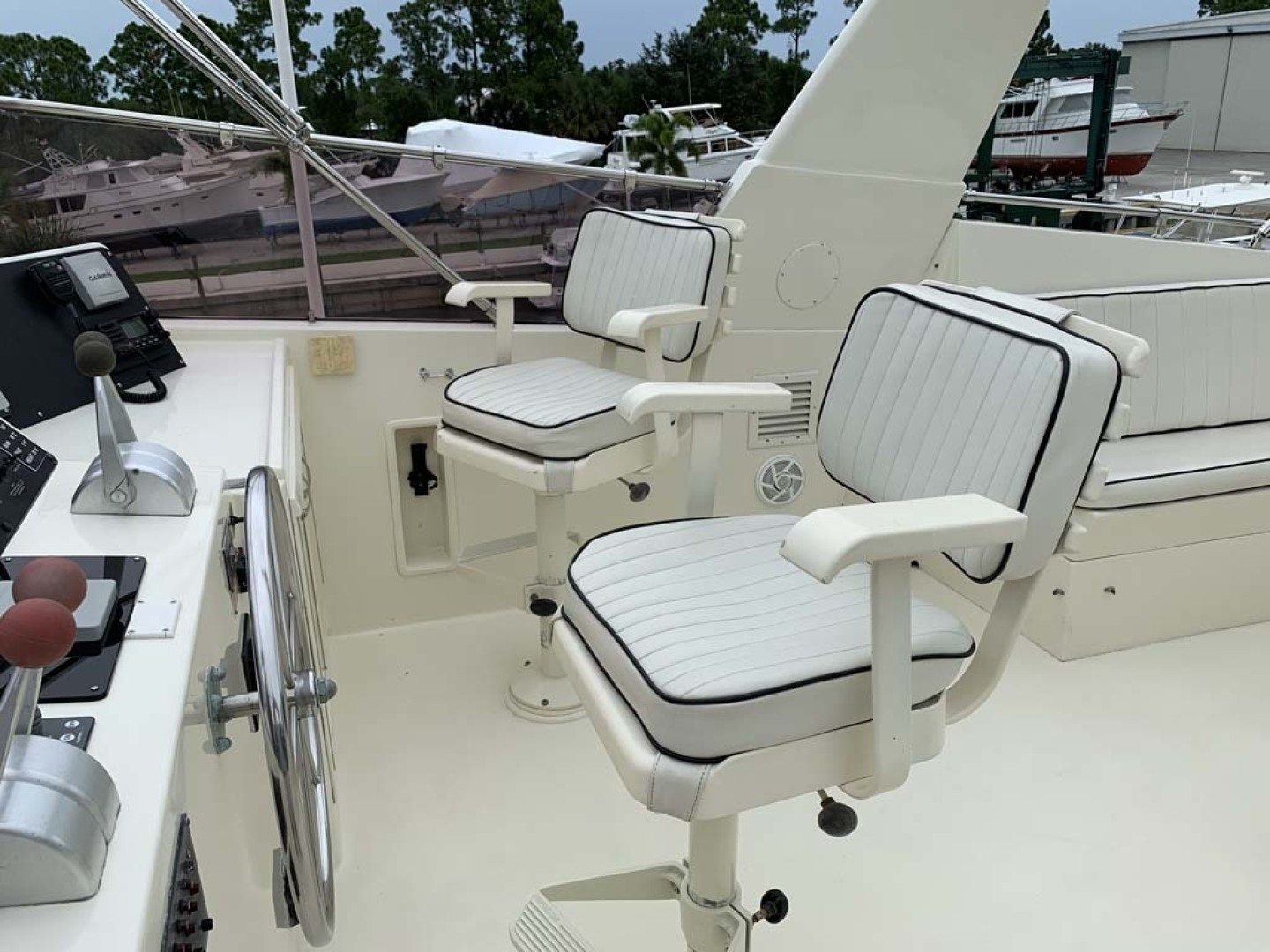 Hatteras-Euro Transom Motor Yacht 1989-Different Drummer II Stuart-Florida-United States-Flybridge Helm Chairs-1450005 | Thumbnail