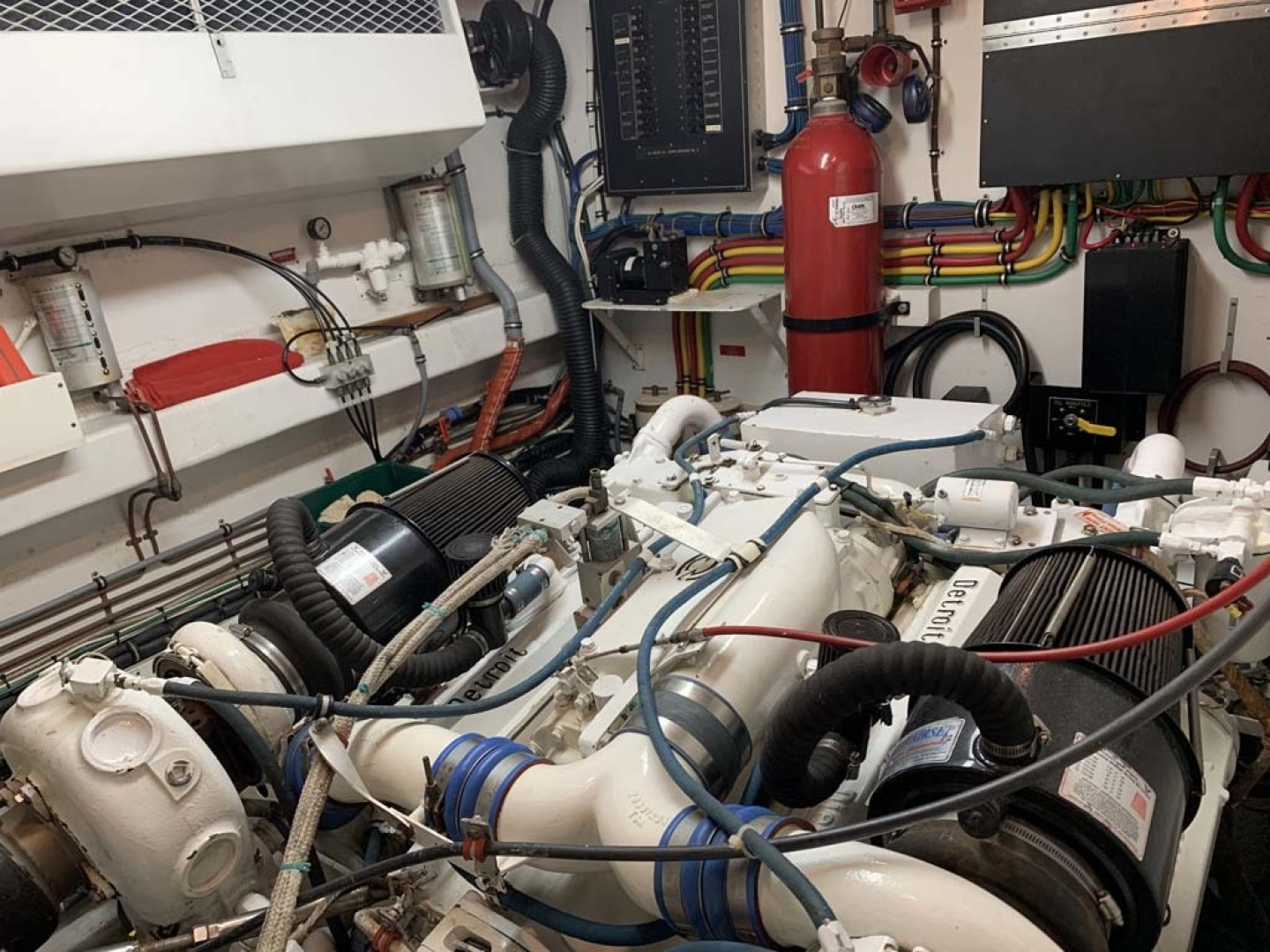 Hatteras-Euro Transom Motor Yacht 1989-Different Drummer II Stuart-Florida-United States-Port Engine Room-1450025 | Thumbnail